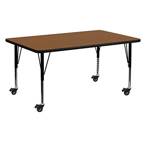 Flash Furniture Adjustable Height Mobile Laminate/Steel Activity Table Oak 24 x 60