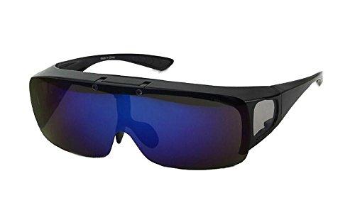 Drivers Jewelry Polarized (Bestum Driving Glasses Wraparounds Polarized Fitover Sunglasses (Shiny black, Blue))
