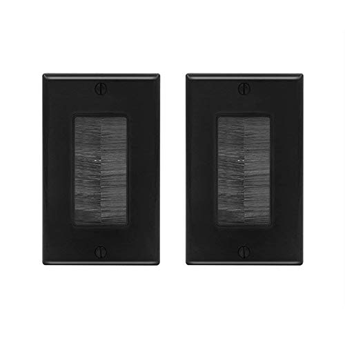 [UL Listed] VCE (2-Pack) Single Brush Wall Plate - Black ()