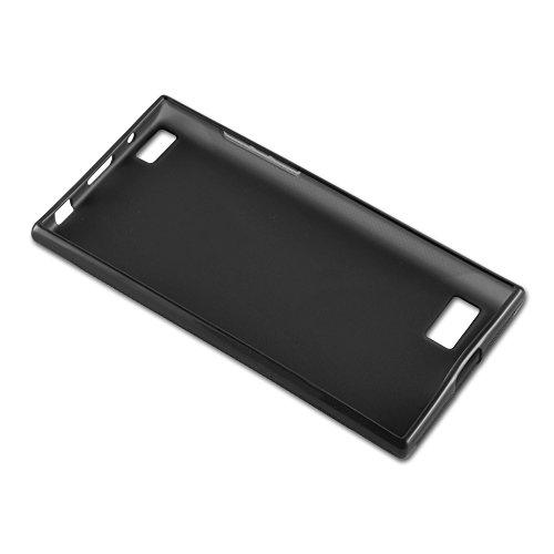 Cadorabo - Blackberry LEAP Cubierta protectora de silicona TPU en diseño X-Line - Case Cover Funda Carcasa Protección en ROJO-INFIERNO ÓXIDO-NEGRO