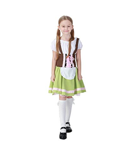 German Oktoberfest Dress for Girls, Kids Bavarian Costume, Beer Garden Dirndl Dress(Medium) -