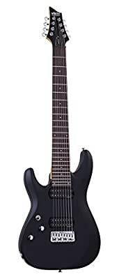 Schecter C-8 DELUXE Satin Black 8-String Solid-Body Electric Guitar, Satin Black