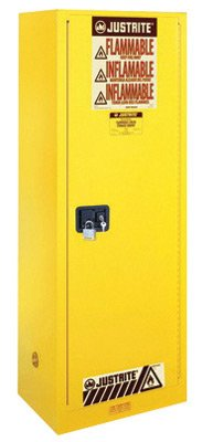 (Justrite 55 Gallon Yellow Sure-Grip EX 18 Gauge Cold Rolled Steel Deep Slimline Safety Cabinet With Self-Closing Door And Shelves - 1 EA )