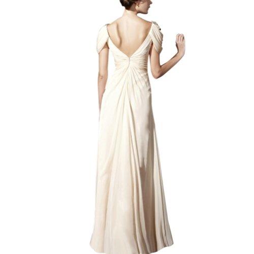 Applikationen Abendkleid Spalte BRIDE Elfenbein Ausschnitt bodenlangen GEORGE Chiffon mit V Perlen OYz15wq
