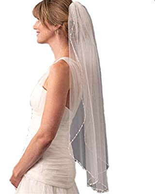Passat Scattered gems Pearls and beads bridal Wedding Veils136