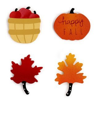 Fall Magnets - Set of 4 Assorted Embellish Your Story By (Halloween Words That Start With X)