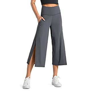 Dragon Fit Women Bootleg Yoga Capris Pants with Pockets Tummy Control High Waist Workout Flare Crop Pants (XX-Large, Dark Grey)