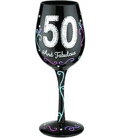 Bottom's Up 15-Ounce 50 and Fabulous Handpainted Wine -