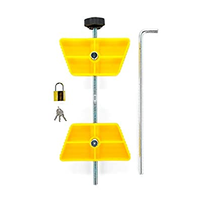 Camco RV Wheel Stop with Padlock- Stabilizes Your Trailer by Securing Tandem Tires to Prevent Movement While Parked- 26