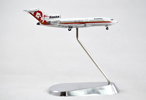 GeminiJets Alaska Airlines Boeing 727-100 Diecast Airplane Model N314AS With Chrome Stand 1:400 Scale Part# GJASA165 (Alaska 100 Airlines)