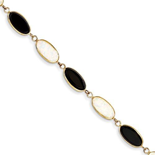 14k Yellow Gold 8.5 Inch Black Onyx Imitation Opal Bracelet Gemstone Fine Jewelry For Women Gift Set