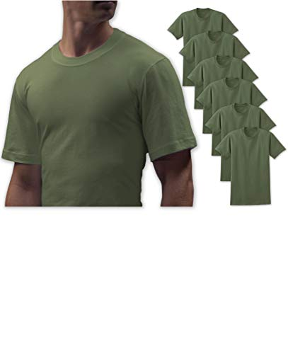 Andrew Scott Big Man 6 Pack Military Army Green Crew Neck Short Sleeve T Shirts (3X-Large, 6 Pack- Military Khaki - T-shirt Army Israel
