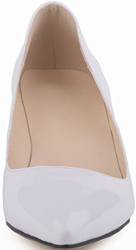 CFP YSE-678-1QP Womens Wedding Street Fashion Kitten Low Heel Shallow Mouth Court Shoes Bridal Leisure Party Business Slide Slip On Antiskidding Office Pumps Charming White Zfbz9K