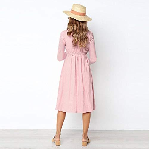 V Automne Manches Imprimer Long Cou Rose Bouton Casual Femmes Longues Stripe Poche Mode Maxi Blouse Plage Tops Dress zahuihuiM Dress qBPwz11t