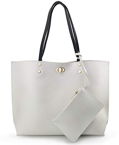 Women's Tote Color-Block Pebbled Faux Leather Shoulder Handbag With Zipper Pocuh Wristlet (White) ()
