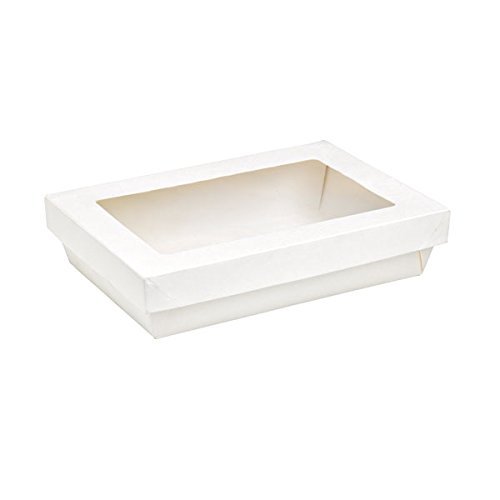 PacknWood Rectangular Cardboard Box with Window 8.85'' x 6.1'' x 1.96'', White (Case of 200)
