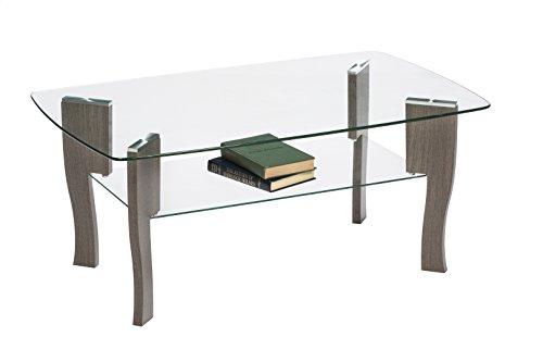 Cheap Mango Steam Mid Century Modern Glass Top Coffee Table, 37″ L x 20″ W