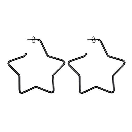 (FOCALOOK Stainless Steel Black Hoop Earrings Five-Pointed Star Shaped Hollow Statement Earrings for Women Girls)