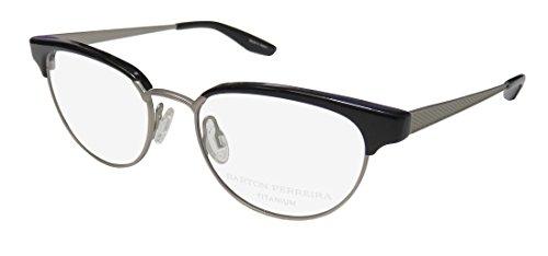 Barton Perreira Filly For Ladies/Women Cat Eye Full-Rim Shape Titanium Contemporary Eyeglasses/Eyewear (49-17-142, Brushed Silver/Black) (Designer Cat-eye-brillen)