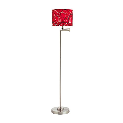 Swing Arm Floor Lamp with Red/Grey Patterned Drum Lamp Shade