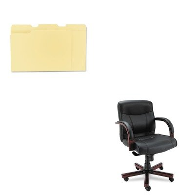 KITALEMA42LS10MUNV12113 - Value Kit - Best Madaris Mid-Back knee Tilt Leather Chair w/Wood Trim (ALEMA42LS10M) and Universal File Folders (UNV12113) by Best