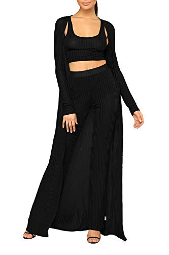 VamJump Women Fashion Knit Crop Tank Top Wide Leg Pants Long Cardigans Set Black XL (Knit Pants Wide & Cardigan Leg)