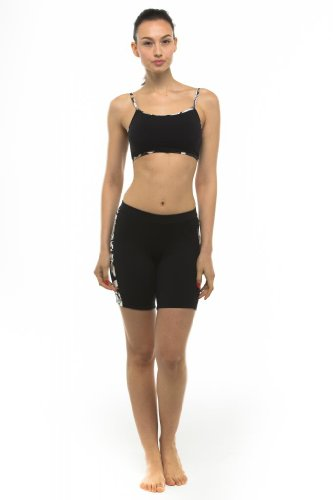 Private Island Hawaii UV Women Rash Guard Skinny Shorts Pants Black with Pucci Medium