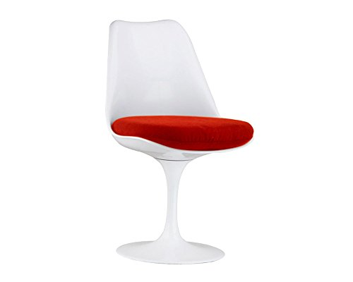 Mod Made Mid Century Modern Lily Swivel Side Chair Dining Chair, Red