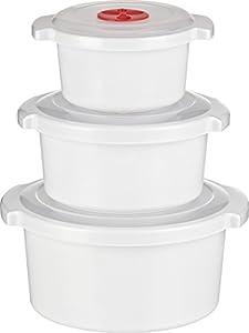 Haushaltsdose Mikrowellen - Kochtopf - Starter -Set 3-teilig 0,5, 1 und 2 Liter