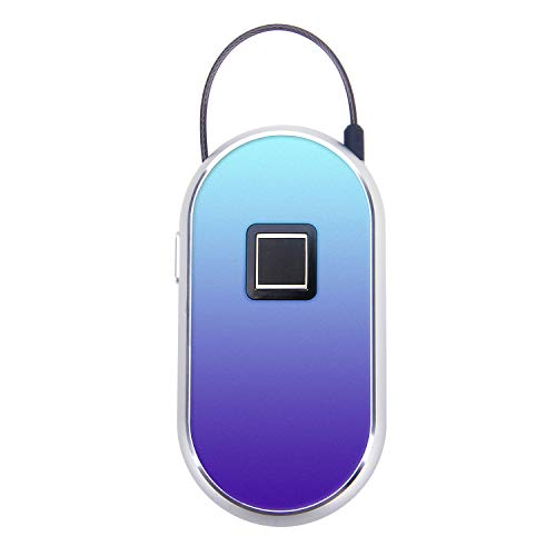 ROYAL DEFENDER Fingerprint Lock, Padlock Security Anti-theft Alarm & Strong Steel Cable For Luggage, Cabinet, Suitcase, Backpack, Gym, Bike, Office,Support USB charging (Blue)