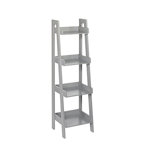 (RiverRidge 4-Tier Ladder Shelf for Kids, Gray )