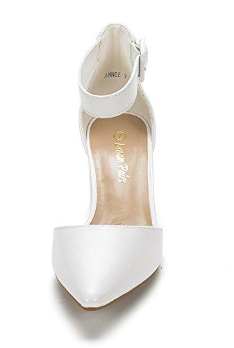 Paires De Rêve Femmes Annee Bas Talon Pompe Chaussures Blanc Pu