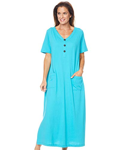 AmeriMark Womens Caftan Loungwear House Dress Long Nightgown V Neck with Pockets Island Blue 1X (Size Plus Dresses Patio)