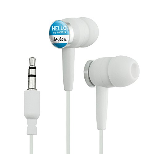 Jaylon Hello My Name Is Novelty In-Ear Earbud Headphones - White