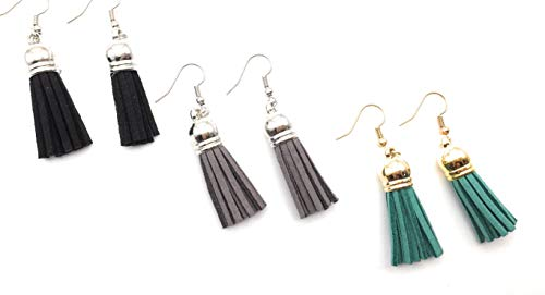 3 Pairs Bohemian Leather Short Tassel Pendants Faux Suede Fringe Statement Dangle Threader Drop Hook Earrings for Women Girls Party Statement Earrings Jewelry (3 Pairs(Black & Grey & Green)) - Faux Suede Pendant