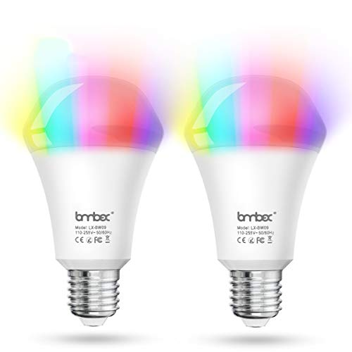 G'SOUL Smart Light Bulb Alexa,Colour Changing Light Bulb,E27 Smart LED Bulb, 10w Dimmable Bulb, No Hub Required Compatible with Alexa, Google Home and IFTTT(2 Pack)