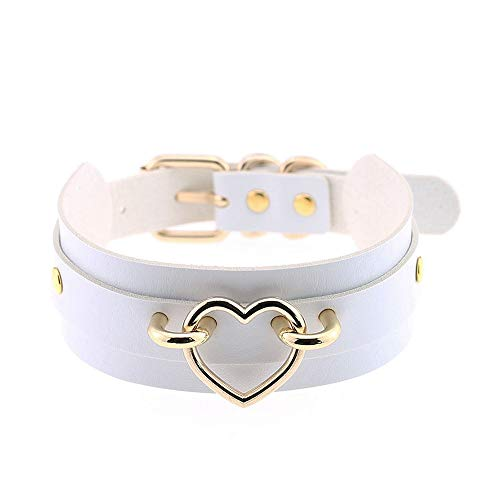 Jurxy Heart Choker Necklace PU Leather Goth Choker Collar with Heart Punk Rock Collar Adjustable Size -White with Gold -