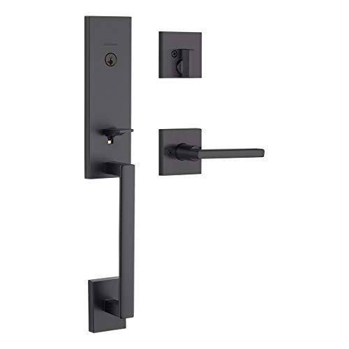 Kwikset 98180-015 Vancouver Low Profile Front Lock Handleset with Slim Modern Halifax Door Lever Handle Featuring SmartKey Security, Iron Black (The Best Of Vancouver)