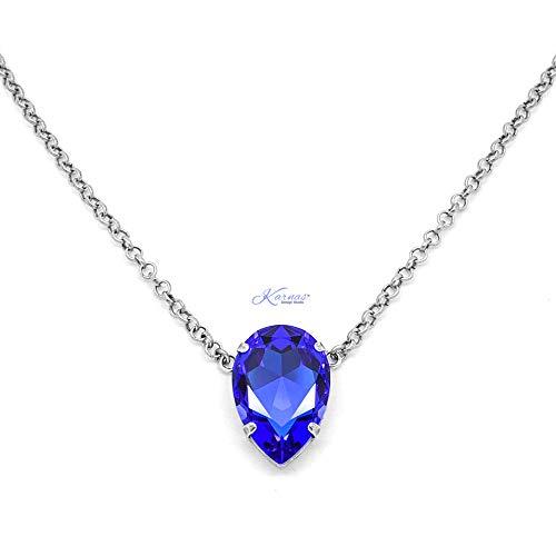 MAJESTIC BLUE 30x20mm XL Pear Necklace Swarovski Crystal *Pick Your Finish *Karnas Design StudioTM ()