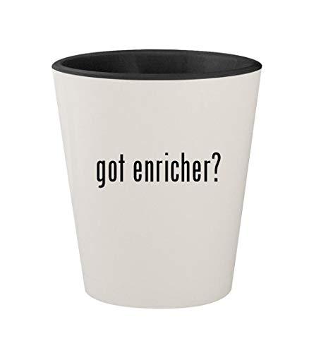 got enricher? - Ceramic White Outer & Black Inner 1.5oz Shot Glass