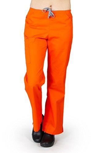 (M&M SCRUBS Women's Two Tone, Two Front Pocket with 2 Cargo Pocket Flare Leg Pant XXL Orange/Grey)