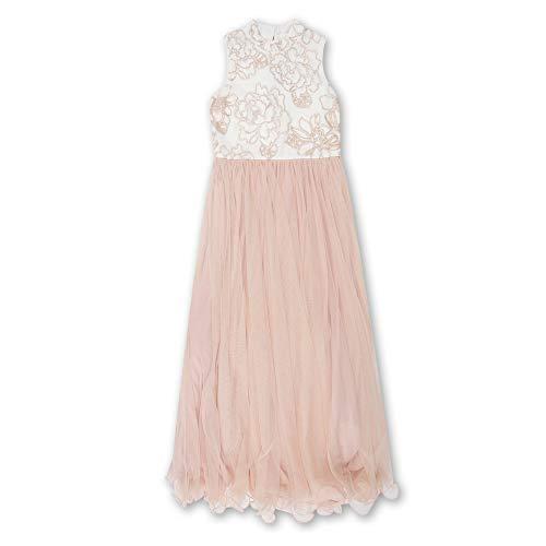 Speechless Girls' Big Full Length Maxi Dress with Beaded Bodice, Ivory Blush -