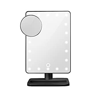 black lighted vanity mirror. makeup vanity mirror 180 degree led lighted with light, oenbopo smart touch kickstand 20 cosmetic countertop black