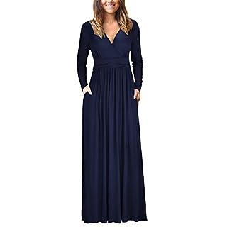 OUGES Womens Long Sleeve V-Neck Wrap Waist Maxi Dress(Navy,XXL)