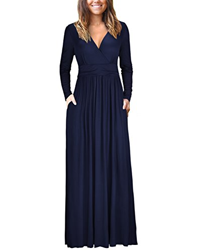 OUGES Womens Long Sleeve V-Neck Wrap Waist Maxi Dress(Navy,S)