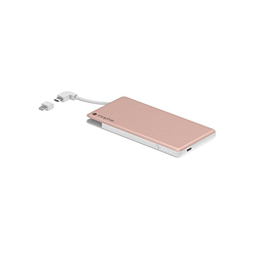 mophie powerstation Plus Mini External Battery with Built in Cables for Smartphones and Tablets (4,000mAh) - Rose Gold (Renewed) ()