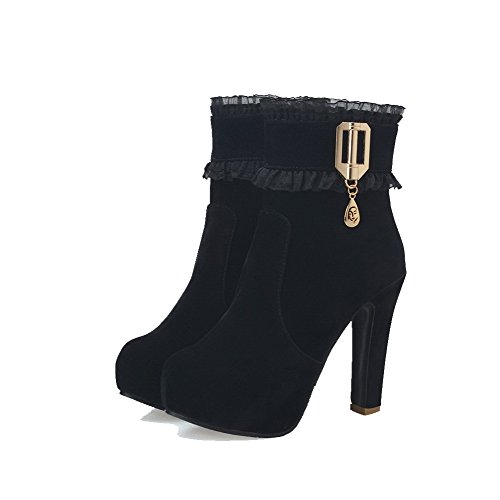 Low Round top Boots Heels Closed High Toe AgooLar Frosted Black Solid Women's 0qOw4R