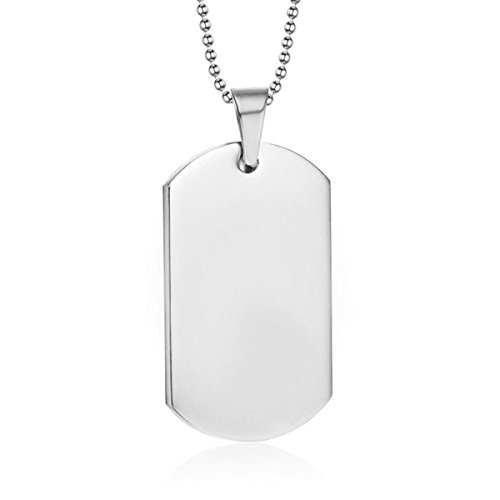 Sterling Silver Dog Tag - Ouslier Personalized 925 Sterling Silver Unisex Men Engraved Dog Tag Necklace Pendant with Ball Chain (Custom Message)