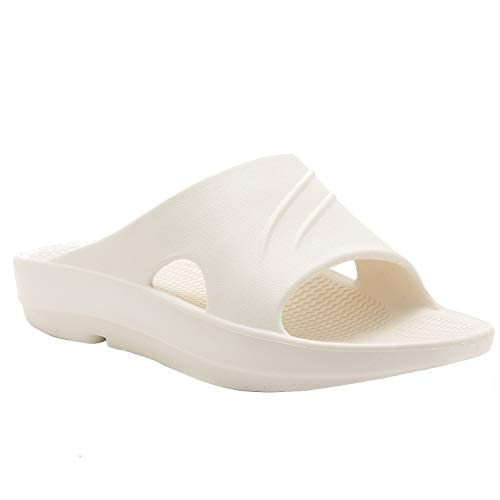 KOCOTA Men's and Womens Arch Support Recovery Slide Sandals Ivory White 12-13 Women/10-11 Men