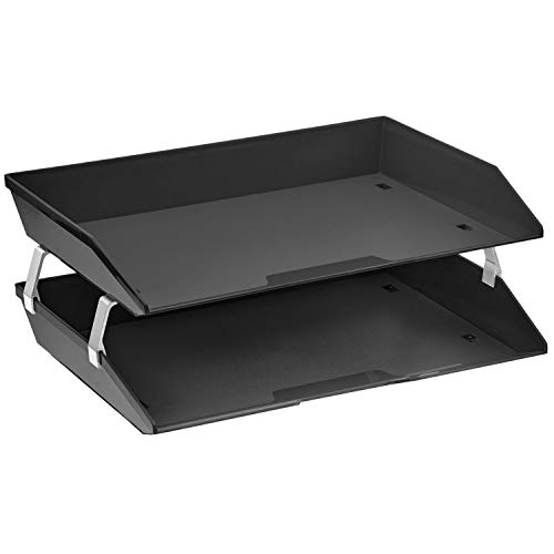 Acrimet Facility 2 Tier Letter Tray Side Load Plastic Desktop File Organizer (Black Color)